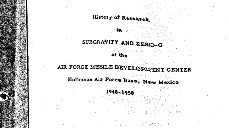 History of Research in Subgravity and Zero-G at the Air Force Missile Development Center, Holloman Air Force Base, New Mexico 1948-1958