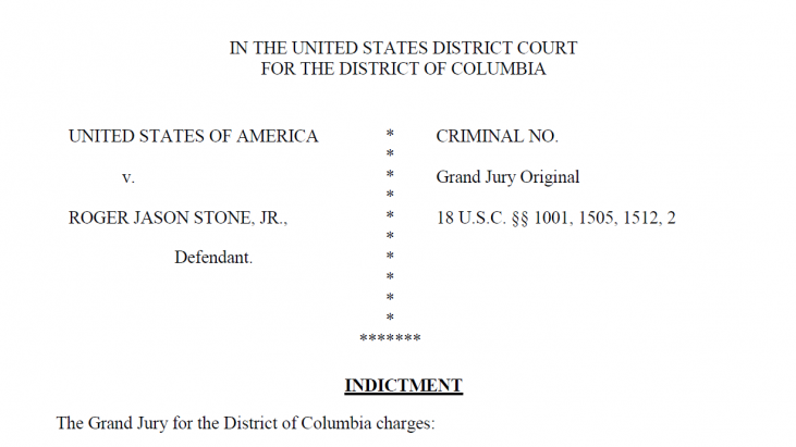 Roger Stone Indictment – Filed January 14, 2019 – Released January 15, 2019