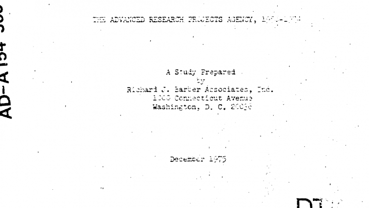 The Advanced Research Projects Agency, 1958-1974