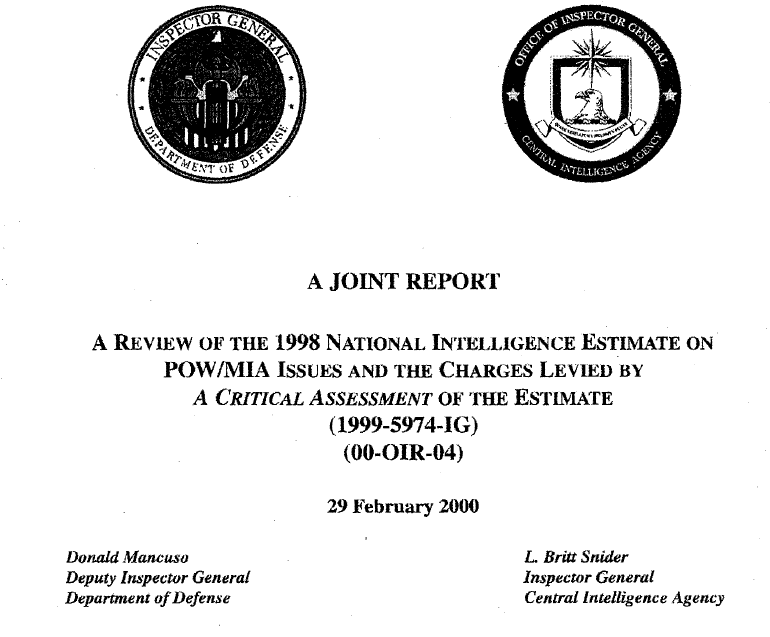 A Review of the 1998 National Intelligence Estimate on POW/MIX Issues and the Charges Levied by A Critical Assessment of the Estimate, 29 February 2000