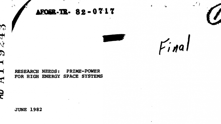 Research Needs: Prime-Power for High Energy Space Systems, June 1982