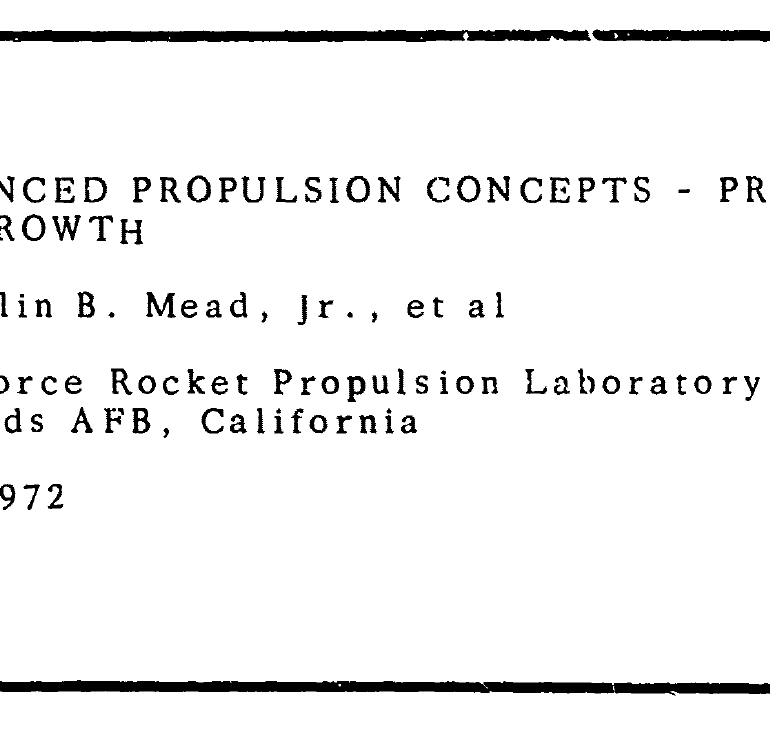 Project Outgrowth – 1970 Study on Major Propulsion Developments