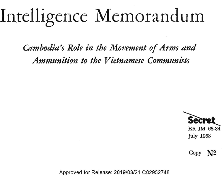 Cambodia's Role in the Movement of Arms and Ammunition to the Vietnamese Communists, July 1968