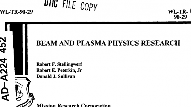 Beam and Plasma Physics Research, June 1990