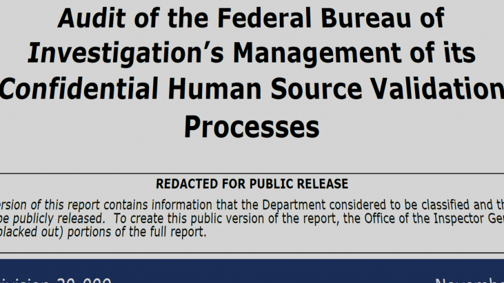 Audit of the Federal Bureau of Investigation's Management of its Confidential Human Source Validation Processes, Audit Report 20-009, November 2019