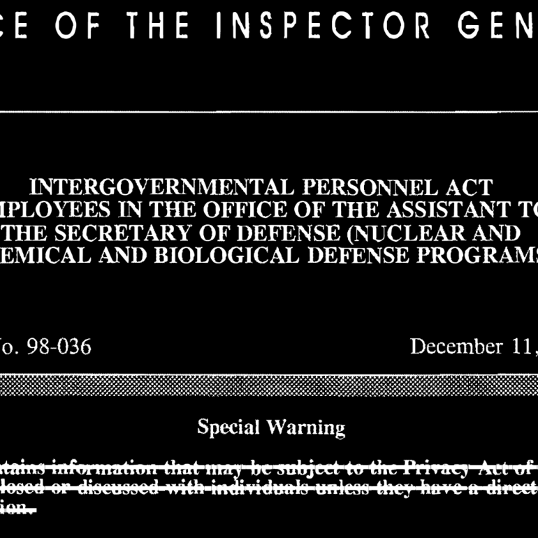 Report 98-036, Intergovernmental Personnel Act Employees in the Office of the Assistant to the Secretary of Defense (Nuclear and Chemical and Biological Defense Programs), December 11, 1997