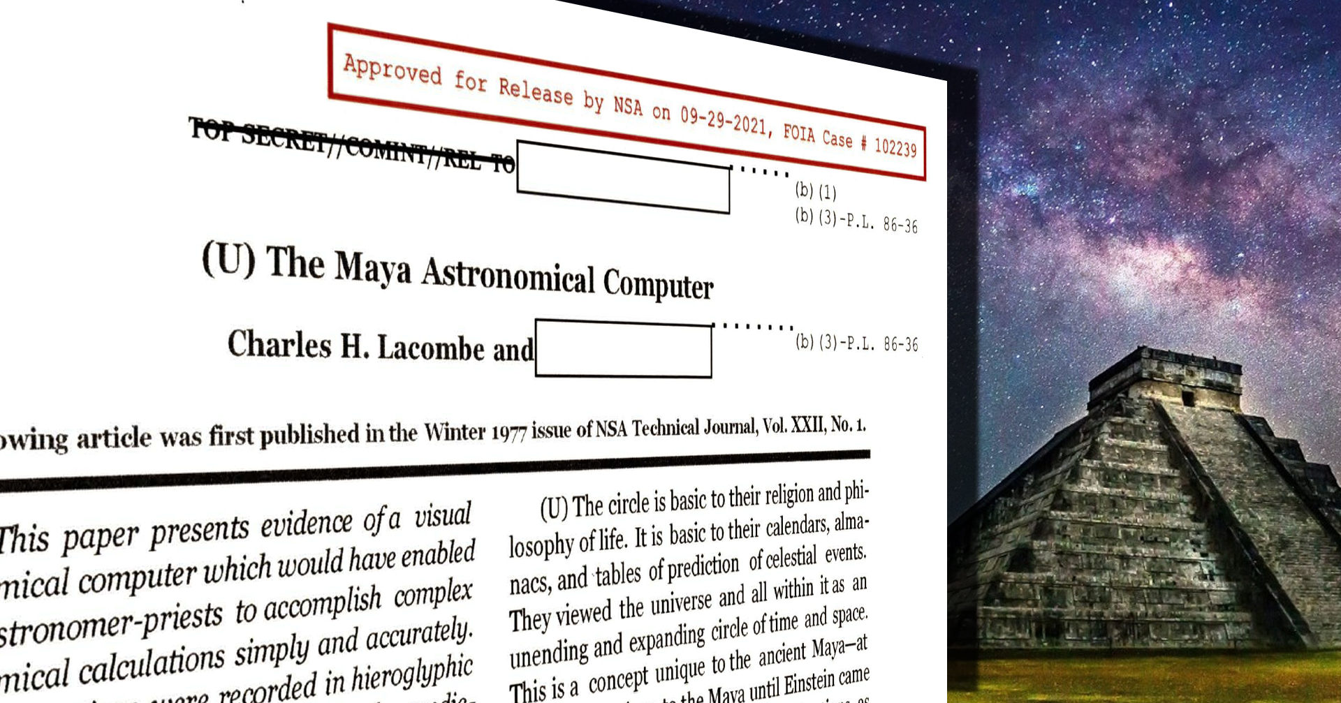 The Maya Astronomical Computer, by Charles H. Lacombe and [REDACTED], Winter 1977